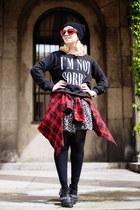 black floral Forever21 dress - black printed Forever21 sweater