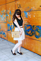 beige Obambi bag - forest green thecolorIS top - cream Zara skirt