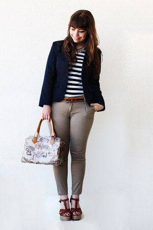 navy shop one blazer - blue stripes c&a t-shirt
