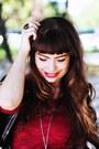 Brick-red-lace-aupie-dress-black-romwe-bag-black-stradivarius-necklace
