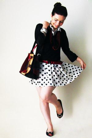 white hearts Shana dress - black c&a shirt - camel Cavalinho bag