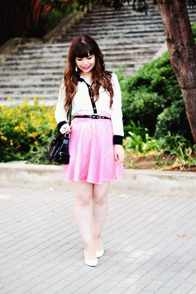 black romwe bag - white lace Fiigirl blouse - pink romwe skirt