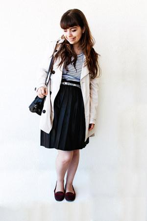 cream trench Stradivarius coat - white stripes c&a shirt - black romwe bag