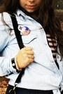 Light-blue-denim-oasap-blouse-navy-lanidor-dress-black-bow-oasap-bag