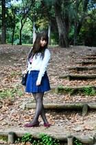 light blue denim OASAP blouse - navy Lanidor dress - black bow OASAP bag