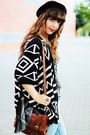 Black-aztec-romwe-cardigan-black-thboxes-hat-dark-brown-primark-bag