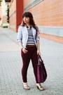 Light-blue-stripes-cadena-blazer-magenta-parfois-bag-magenta-primark-pants