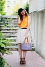 Periwinkle-parfois-bag-cream-zara-skirt-orange-neon-thecoloris-top