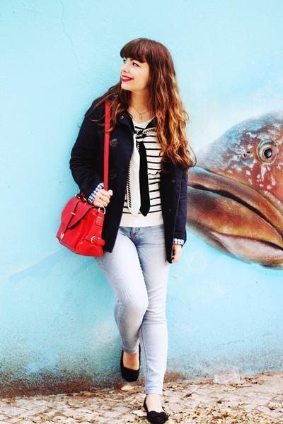 white stripes romwe sweater - navy Primark coat - periwinkle Lanidor jeans