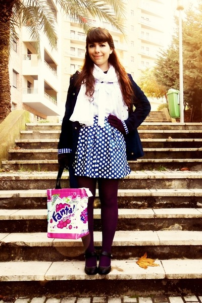 navy polka dot Magix D skirt - navy Primark coat - magenta Calzedonia tights