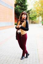 bronze faux leather romwe jacket - black zipper romwe boots