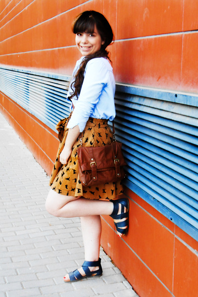 tawny cat print Ebay skirt - brown Primark bag - light blue denim OASAP blouse