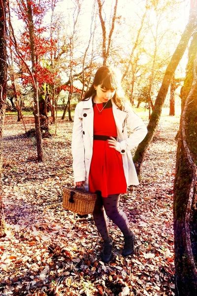 red Magix D dress - ivory Stradivarius coat - black polka dots Ebay tights