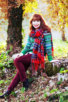 black romwe boots - black romwe coat - dark green H&M sweater