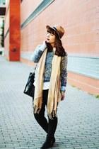 silver fur foymall sweater - black zipper romwe boots - magenta H&M coat