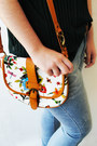 Burnt-orange-bug-print-aldo-bag-sky-blue-lanidor-jeans