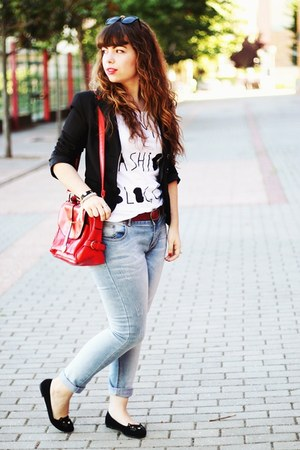 light blue Lanidor jeans - black Mango blazer - red romwe bag