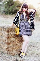 black stripes Electric Frenchie dress - mustard Zara bag