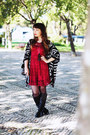 Brick-red-lace-aupie-dress-black-romwe-bag-black-stradivarius-necklace