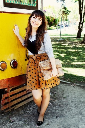 tawny cat Ebay skirt - periwinkle heart Choies shirt - camel fur Pinkoholic bag