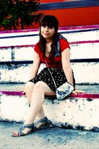 silver bow Claires bag - navy sparrows Hello Blogshop skirt