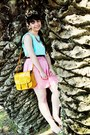 Yellow-zara-bag-white-firmoo-sunglasses-bubble-gum-romwe-skirt