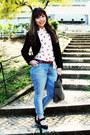White-lips-ahaishopping-blouse-teal-lanidor-jeans-black-mango-blazer