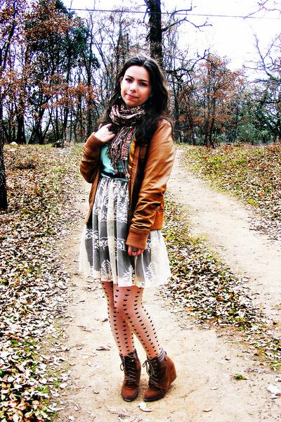 wedges New Code boots - Bershka jacket - Modalfa sweater - hearts Primark tights