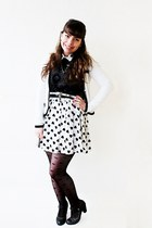 white hearts Shana dress - black Bershka shirt - black polka dots Ebay tights