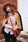 Dark-brown-spartoo-boots-camel-front-row-shop-hat-burnt-orange-romwe-jacket