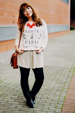 white map BangGood watch - black Sheinside boots - dark khaki Mango dress