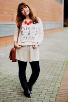 white map BangGood watch - black Sheinside boots - dark khaki Mango dress