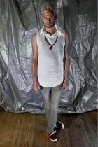 red BoyLondon shoes - gray zipia pants - white zipia shirt - brown Etsy necklace