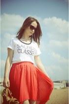 coral Mango skirt - white Zara t-shirt