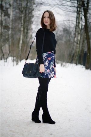 black Zara top - Zara skirt