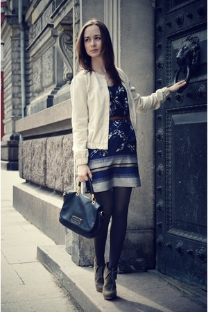 blue Mango dress - black Marc by Marc Jacobs bag - dark brown Bershka wedges