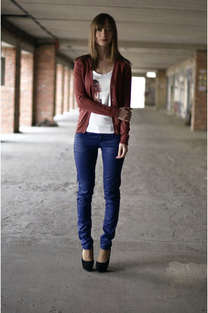 blue Mango pants - brick red Mango cardigan