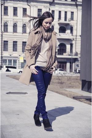 camel coat - blue pants