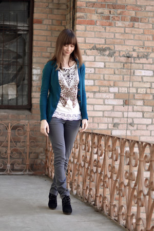 teal Forever 18 cardigan - black Mango boots - white Mango t-shirt