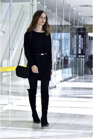 black Mango dress - black Mango bag