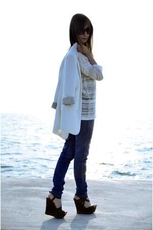brown Motivi wedges - blue Motivi jeans - black max&co sunglasses
