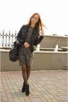 leopard Mango dress - Mango boots - leather New Yorker jacket