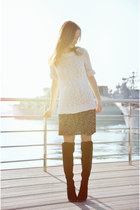 black Mango dress - ivory Mango sweater
