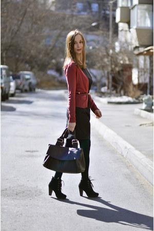 black Mango boots - coral Mango cardigan - brick red vintage belt