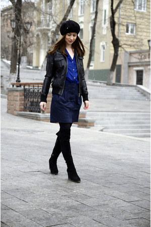 navy Mango shirt - black New Yorker jacket - blue Mango skirt