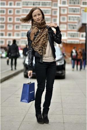 leather New Yorker jacket - Mango blouse - Mango pants