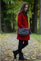 ruby red Zara coat - black Guess boots - black Marc by Marc Jacobs bag