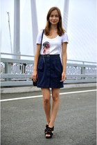 navy Mango skirt - white Motivi t-shirt