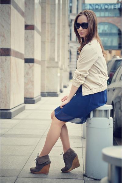 blue uttam london dress - light brown Bershka wedges