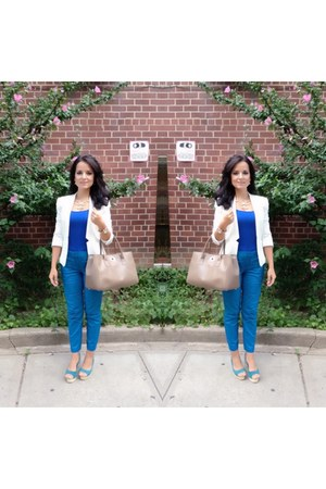 white Forever 21 blazer - sand color Furla bag - royal blue Zara top